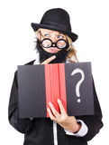 Wondering woman with text book question Stock Photos