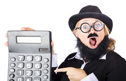 Mad female accountant with calculator Stock Images