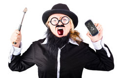 Angry woman breaking mobie phone Royalty Free Stock Photo