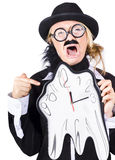 Woman running out of time. A woman in men's clothes and a fake beard with a clock that is melting away Stock Images