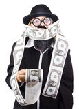 Woman wrapped in money Royalty Free Stock Photography