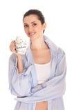 Woman men's shirt having morning coffee Royalty Free Stock Images