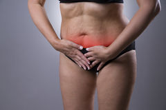 Woman with menstrual pain, endometriosis or cystitis, stomach ache Royalty Free Stock Photo