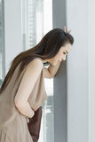 Woman with menstruation pain, stomach ache Royalty Free Stock Photo