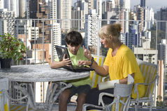 Woman Mentoring Boy - Horizontal Royalty Free Stock Photography