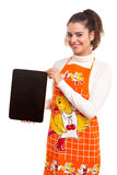 Woman with menu board Stock Image