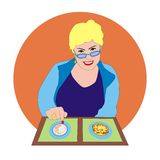 Woman with menu royalty free illustration