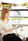 Woman with menu Stock Photography