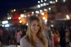 The woman among the merchants Royalty Free Stock Image