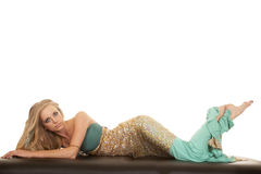 Woman mermaid lay stomach full body Royalty Free Stock Image