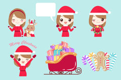 Woman with merry christmas. On the blue background Royalty Free Stock Images