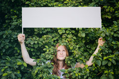 Woman with Message About Ecology or Nature Stock Photos