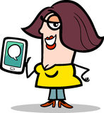 Woman with message on tablet pc cartoon Stock Images