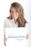 Woman with message Royalty Free Stock Photography