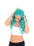 Woman messing with her blue hair. Royalty Free Stock Photo
