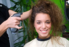 Woman with messy hair Stock Image