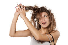 Woman with messy hair Stock Photography