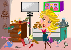 Woman in a messy room cartoon  Royalty Free Stock Photos