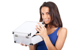 Woman with a metal box Stock Photography