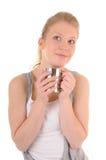 Woman with metal cup Stock Photos