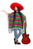 The woman mexican guitar player on white Royalty Free Stock Images
