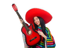 The woman mexican guitar player on white Stock Photo