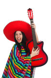 Woman mexican guitar player on white Stock Images