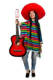 Woman mexican guitar player on white Stock Photos