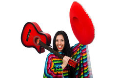 Woman mexican guitar player on white Royalty Free Stock Image