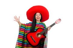 Woman mexican guitar player on white Royalty Free Stock Photo
