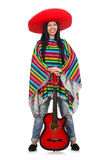 The woman mexican guitar player on white Royalty Free Stock Photos