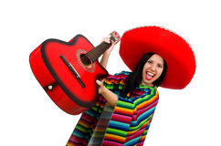 The woman mexican guitar player on white Stock Images