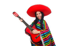 The woman mexican guitar player on white Stock Photos