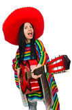 The woman mexican guitar player on white Royalty Free Stock Image