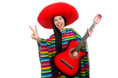 The woman mexican guitar player on white Royalty Free Stock Photography