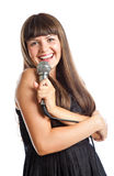 Woman with microphone Stock Images