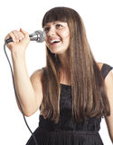 Woman with microphone. Isolated on white background Royalty Free Stock Photography