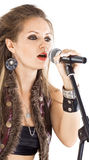 Woman with a microphone Royalty Free Stock Photo