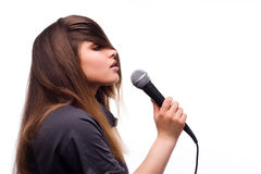 Woman with microphone Royalty Free Stock Photo