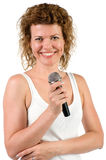 Woman with microphone closeup Royalty Free Stock Photos