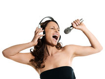 Woman with microphone and headphones sin Royalty Free Stock Photography