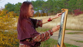 Woman Of Middle Age Drawing A Picture At Plein Air stock footage