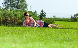 The woman of middle age  in park Stock Photography