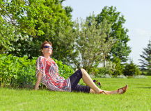 The woman of middle age  in park Royalty Free Stock Images