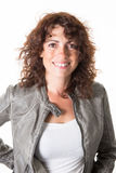 Woman, middle aged, with a green leather jacket Royalty Free Stock Photography