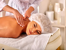 Woman middle-aged in spa salon with beautician Royalty Free Stock Photo