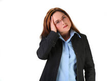Woman with migraine. Or worrying Stock Photo
