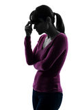 Woman migraine headache portrait silhouette Royalty Free Stock Photo