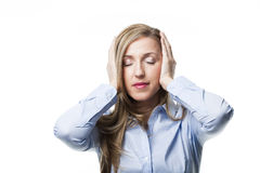Woman with a migraine Stock Photos