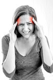 Woman with migraine Royalty Free Stock Photos